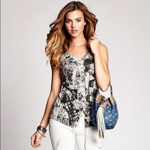 GUESS Los Angeles Sleeveless Lace-Up B-Roll Top